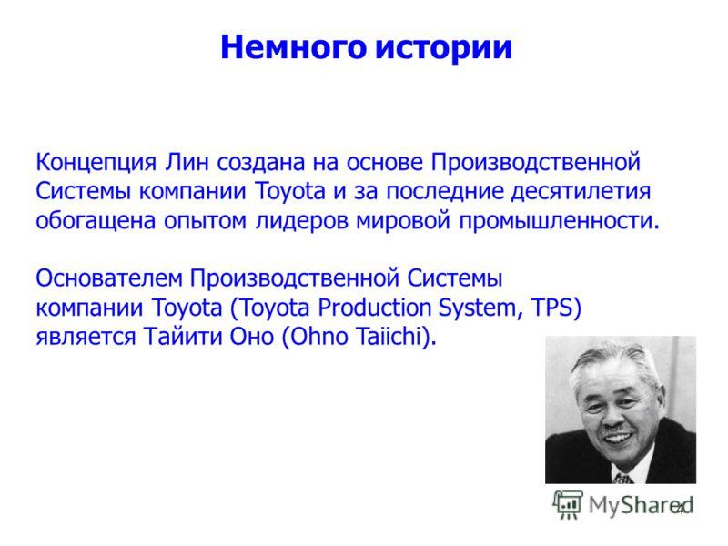 Немного истории Концепция Лин создана на основе Производственной Системы компании Toyota и за последние десятилетия обогащена опытом лидеров мировой промышленности. Основателем Производственной Системы компании Toyota (Toyota Production System, TPS)