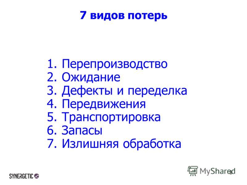 7 видов потерь 1.Перепроизводство 2.Ожидание 3.Дефекты и переделка 4.Передвижения 5.Транспортировка 6.Запасы 7.Излишняя обработка 8