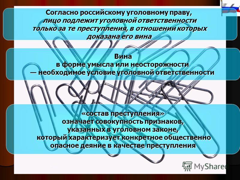 Согласно российскому уголовному праву, лицо подлежит уголовной ответственности только за те преступления, в отношении которых доказана его вина Вина в форме умысла или неосторожности необходимое условие уголовной ответственности необходимое условие у