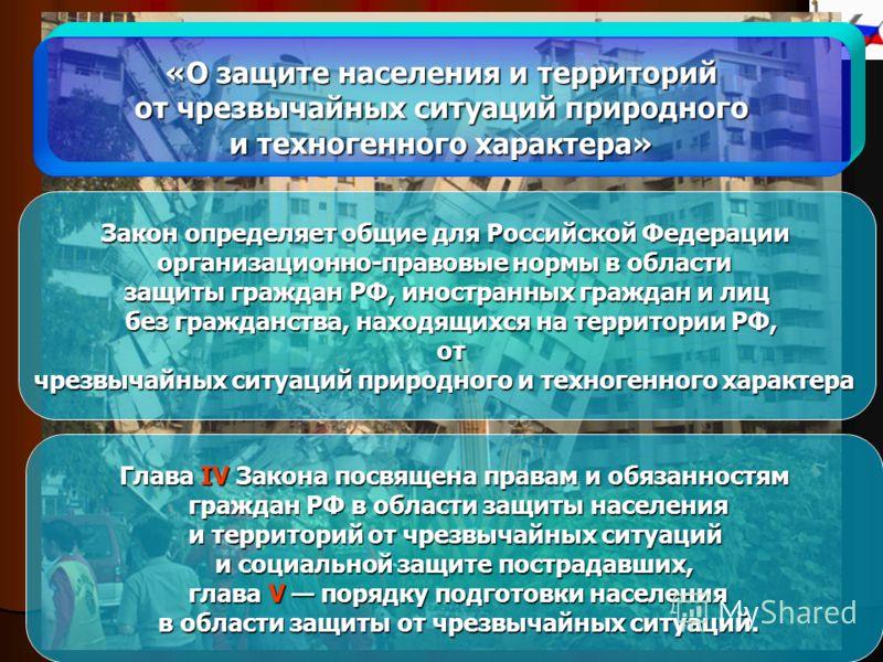 «О защите населения и территорий от чрезвычайных ситуаций природного от чрезвычайных ситуаций природного и техногенного характера» Закон определяет общие для Российской Федерации организационно-правовые нормы в области защиты граждан РФ, иностранных