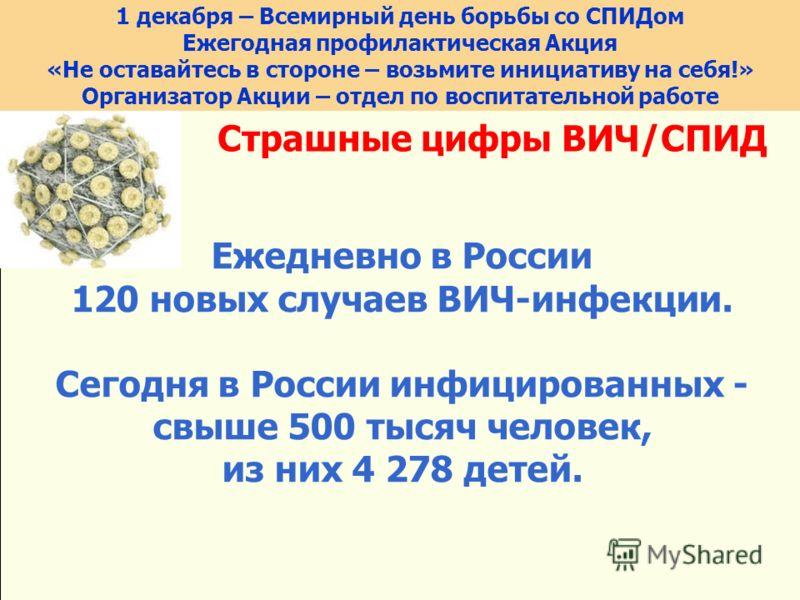Страшные цифры ВИЧ/СПИД Ежедневно в России 120 новых случаев ВИЧ-инфекции. Сегодня в России инфицированных - свыше 500 тысяч человек, из них 4 278 детей. 1 декабря – Всемирный день борьбы со СПИДом Ежегодная профилактическая Акция «Не оставайтесь в с
