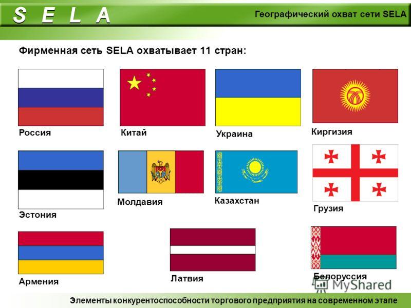 Фирменная сеть SELA охватывает 11 стран: Элементы конкурентоспособности торгового предприятия на современном этапе Географический охват сети SELA Россия Китай Украина Киргизия Эстония Молдавия Казахстан Грузия Армения Латвия Белоруссия