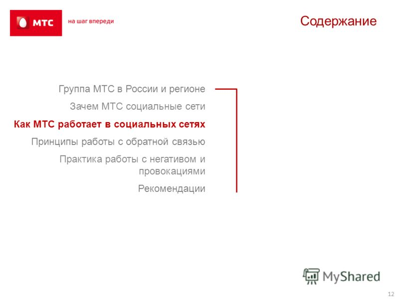 Группа МТС в России и регионе Зачем МТС социальные сети Как МТС работает в социальных сетях Принципы работы с обратной связью Практика работы с негативом и провокациями Рекомендации 12 Содержание