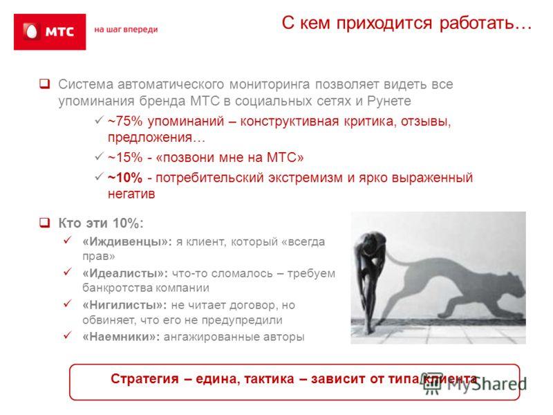 С кем приходится работать… Система автоматического мониторинга позволяет видеть все упоминания бренда МТС в социальных сетях и Рунете ~75% упоминаний – конструктивная критика, отзывы, предложения… ~15% - «позвони мне на МТС» ~10% - потребительский эк