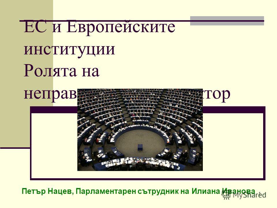 1 ЕС и Европейските институции Ролята на неправителствения сектор Петър Нацев, Парламентарен сътрудник на Илиана Иванова