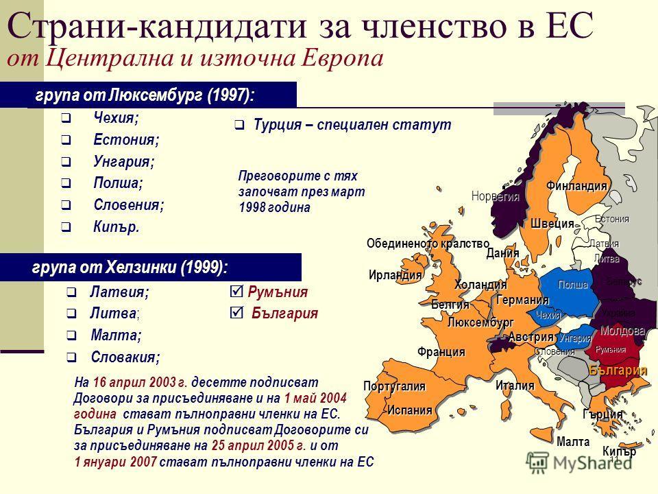 11 група от Люксембург (1997): Чехия; Естония; Унгария; Полша; Словения; Кипър. Франция Обединеното кралство Португалия Испания Италия Гърция Унгария Чехия Германия Полша Дания Холандия Белгия Норвегия Люксембург Австрия Ирландия Швеция Финландия Бъл