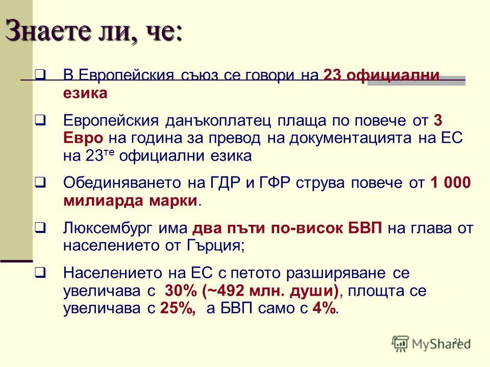 21 Знаете ли, че: В Европейския съюз се говори на 23 официални езика Европейския данъкоплатец плаща по повече от 3 Евро на година за превод на документацията на ЕС на 23 те официални езика Обединяването на ГДР и ГФР струва повече от 1 000 милиарда ма