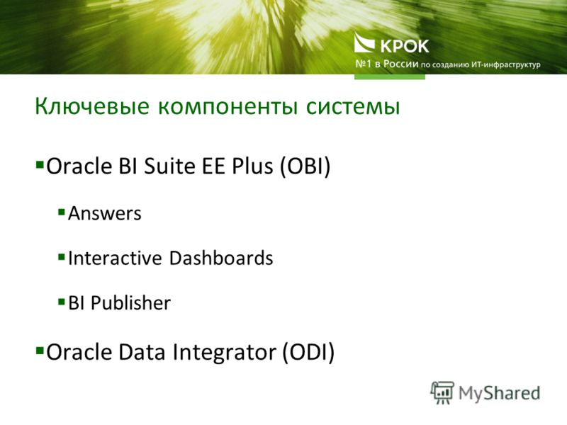 Ключевые компоненты системы Oracle BI Suite EE Plus (OBI) Answers Interactive Dashboards BI Publisher Oracle Data Integrator (ODI)