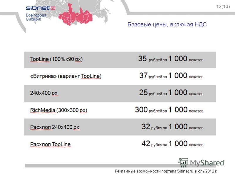 Базовые цены, включая НДС 12(13) Рекламные возможности портала Sibnet.ru, июль 2012 г.