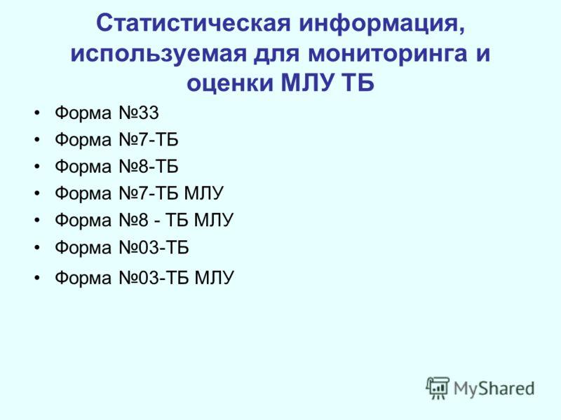 Статистическая информация, используемая для мониторинга и оценки МЛУ ТБ Форма 33 Форма 7-ТБ Форма 8-ТБ Форма 7-ТБ МЛУ Форма 8 - ТБ МЛУ Форма 03-ТБ Форма 03-ТБ МЛУ