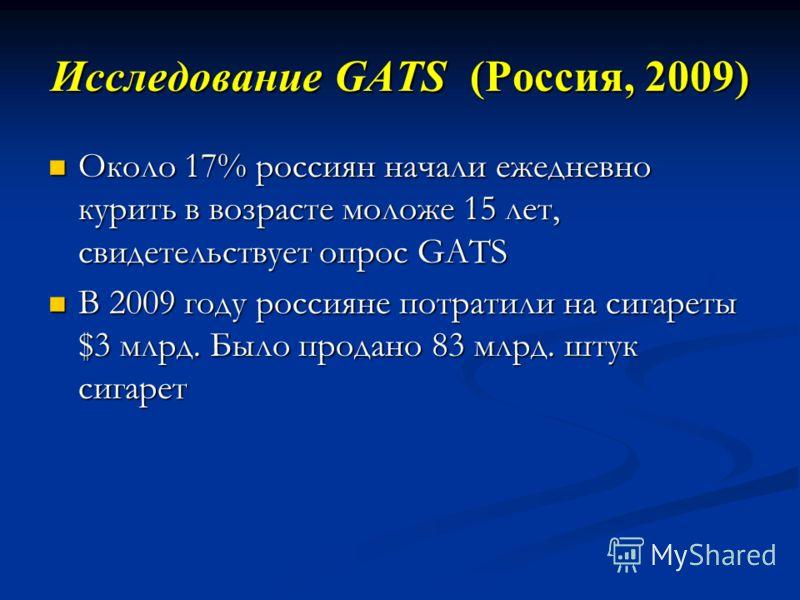 Около 17% россиян начали ежедневно курить в возрасте моложе 15 лет, свидетельствует опрос GATS Около 17% россиян начали ежедневно курить в возрасте моложе 15 лет, свидетельствует опрос GATS В 2009 году россияне потратили на сигареты $3 млрд. Было про