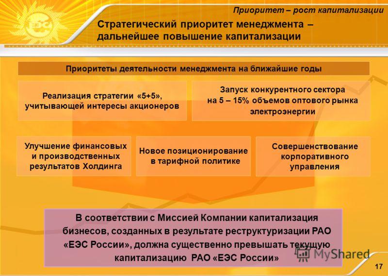 17 Стратегический приоритет менеджмента – дальнейшее повышение капитализации Приоритет – рост капитализации В соответствии с Миссией Компании капитализация бизнесов, созданных в результате реструктуризации РАО «ЕЭС России», должна существенно превыша