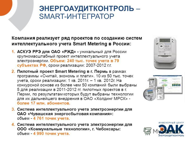 Компания реализует ряд проектов по созданию систем интеллектуального учета Smart Metering в России: Опыт «ИЦ» ЭНЕРГОАУДИТКОНТРОЛЬ» ЭНЕРГОАУДИТКОНТРОЛЬ – SMART-ИНТЕГРАТОР 1.АСКУЭ РРЭ для ОАО «РЖД» - уникальный для России крупномасштабный проект интелл