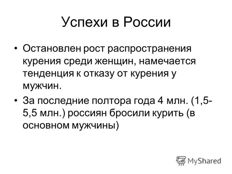 Успехи в России Остановлен рост распространения курения среди женщин, намечается тенденция к отказу от курения у мужчин. За последние полтора года 4 млн. (1,5- 5,5 млн.) россиян бросили курить (в основном мужчины)