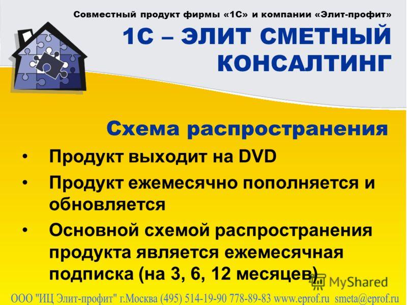 Совместный продукт фирмы «1С» и компании «Элит-профит» 1С – ЭЛИТ СМЕТНЫЙ КОНСАЛТИНГ Схема распространения Продукт выходит на DVD Продукт ежемесячно пополняется и обновляется Основной схемой распространения продукта является ежемесячная подписка (на 3