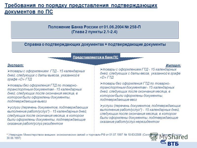 Требования к оформлению резидентами паспорта сделки Положение Банка России от 01.06.2004 258-П Паспорт сделки (ПС) по внешнеторговому договору на сумму 50 000 долларов США и более в эквиваленте на дату подписания /договору кредита или займа на сумму