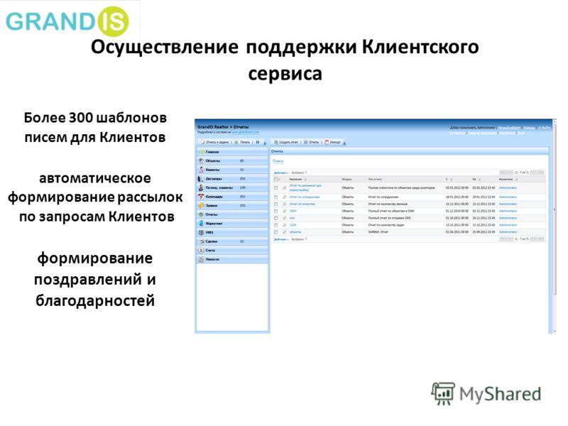 Осуществление поддержки Клиентского сервиса www.dom.ru Более 300 шаблонов писем для Клиентов автоматическое формирование рассылок по запросам Клиентов формирование поздравлений и благодарностей