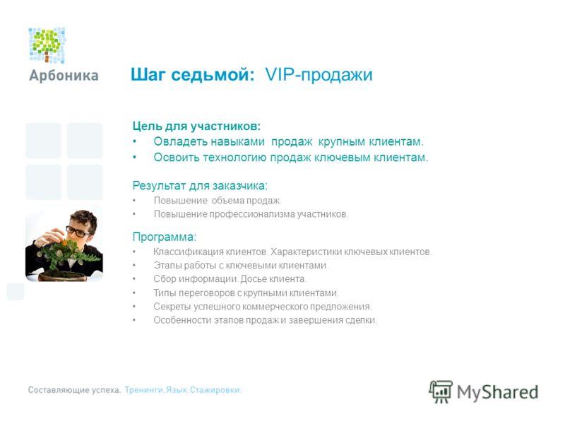 Шаг седьмой: VIP-продажи Цель для участников: Овладеть навыками продаж крупным клиентам. Освоить технологию продаж ключевым клиентам. Результат для заказчика: Повышение объема продаж. Повышение профессионализма участников. Программа: Классификация кл