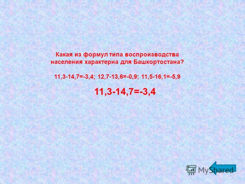 Какая из формул типа воспроизводства населения характерна для Башкортостана? 11,3-14,7=-3,4; 12,7-13,6=-0,9; 11,5-16,1=-5,9 11,3-14,7=-3,4