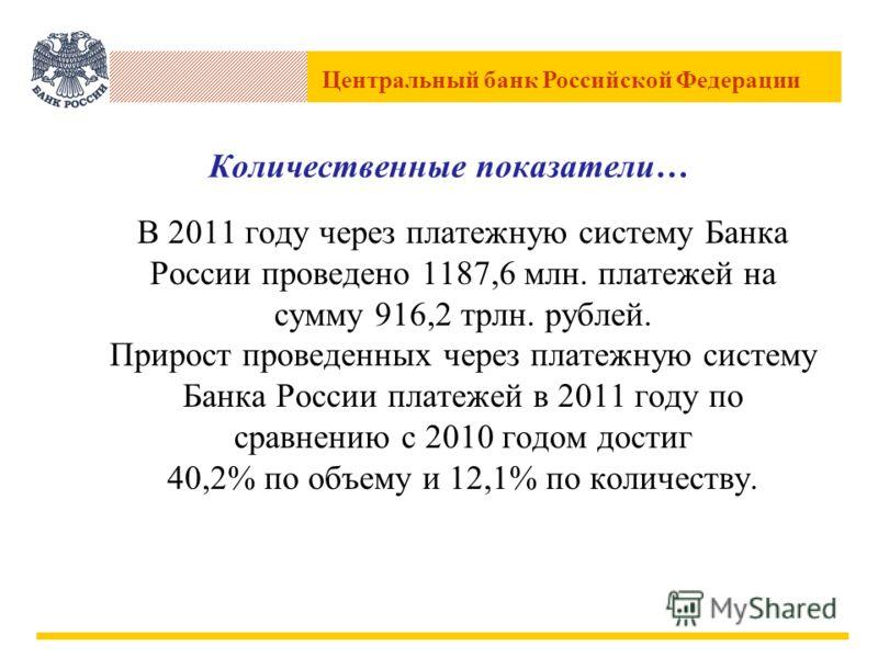 Центральный банк Российской Федерации Количественные показатели… В 2011 году через платежную систему Банка России проведено 1187,6 млн. платежей на сумму 916,2 трлн. рублей. Прирост проведенных через платежную систему Банка России платежей в 2011 год