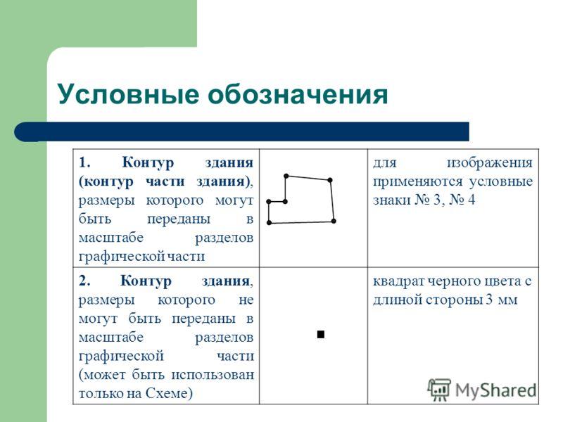 Условные обозначения 1. Контур здания (контур части здания), размеры которого могут быть переданы в масштабе разделов графической части для изображения применяются условные знаки 3, 4 2. Контур здания, размеры которого не могут быть переданы в масшта
