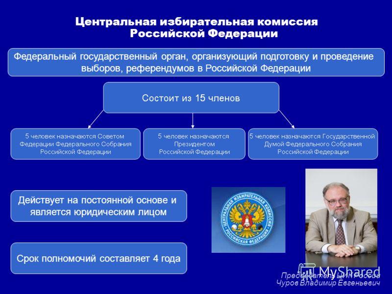 Федеральный государственный орган, организующий подготовку и проведение выборов, референдумов в Российской Федерации Действует на постоянной основе и является юридическим лицом Срок полномочий составляет 4 года Центральная избирательная комиссия Росс