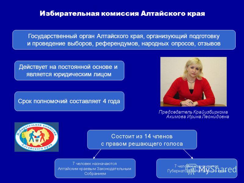 Государственный орган Алтайского края, организующий подготовку и проведение выборов, референдумов, народных опросов, отзывов Действует на постоянной основе и является юридическим лицом Срок полномочий составляет 4 года Избирательная комиссия Алтайско