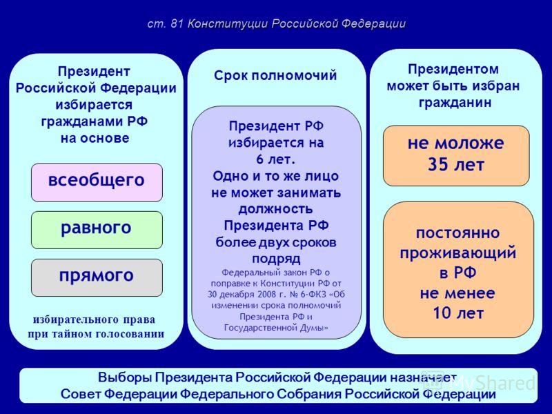 Президент Российской Федерации избирается гражданами РФ на основе избирательного права при тайном голосовании Президентом может быть избран гражданин Срок полномочий всеобщего равного прямого Президент РФ избирается на 6 лет. Одно и то же лицо не мож