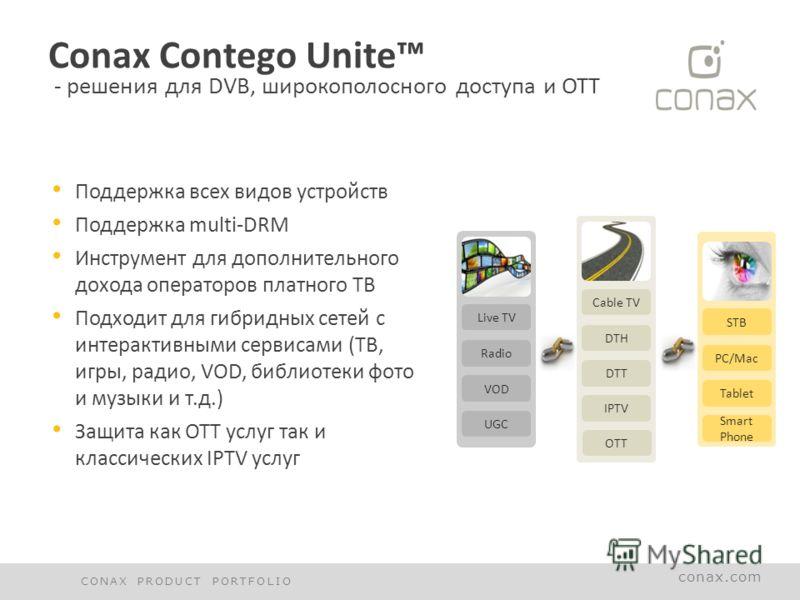 conax.com Conax Contego Unite - решения для DVB, широкополосного доступа и OTT Поддержка всех видов устройств Поддержка multi-DRM Инструмент для дополнительного дохода операторов платного ТВ Подходит для гибридных сетей с интерактивными сервисами (ТВ