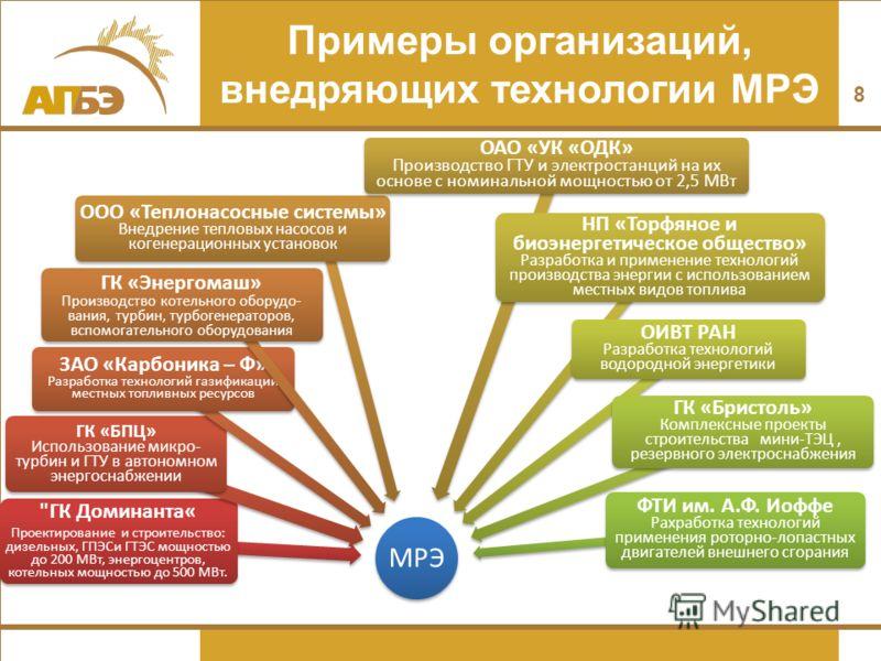 Примеры организаций, внедряющих технологии МРЭ 8 МРЭ