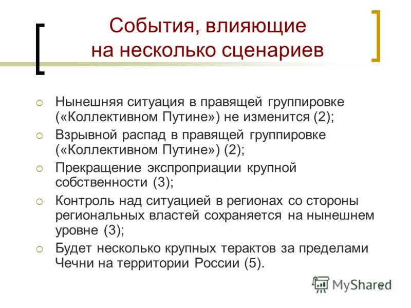 18 Сюжеты, слабо влияющие на сценарии Изменение рейтинга Путина; Доминирующая политическая ориентация городских низов; Доминирующие настроения среднего класса; Структурирование на фланге левой и националистической оппозиции; Изменение цен на нефть (г