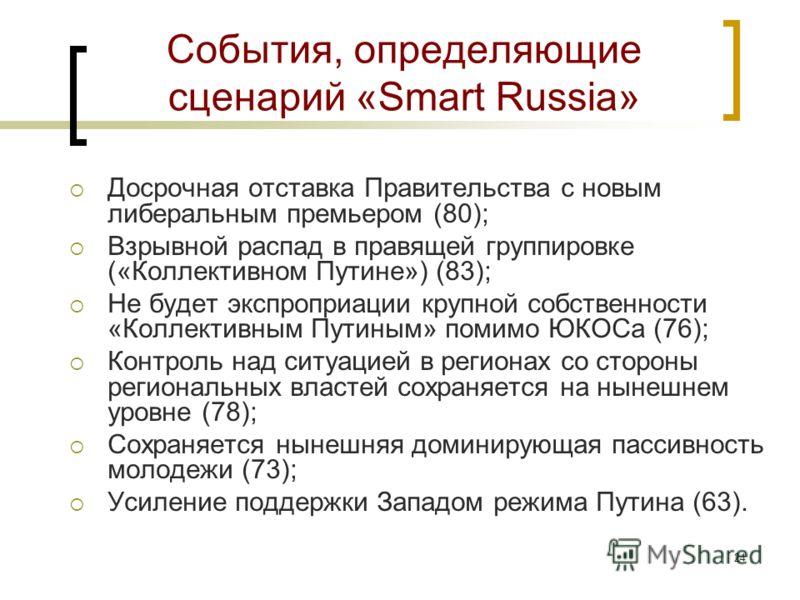23 События, определяющие сценарий «Революция» Взрывной распад в правящей группировке («Коллективном Путине») (83); Доминирует явное крушение лояльности к Путину в федеральных элитах (65); Доминирует явное крушение лояльности к Путину в региональных и
