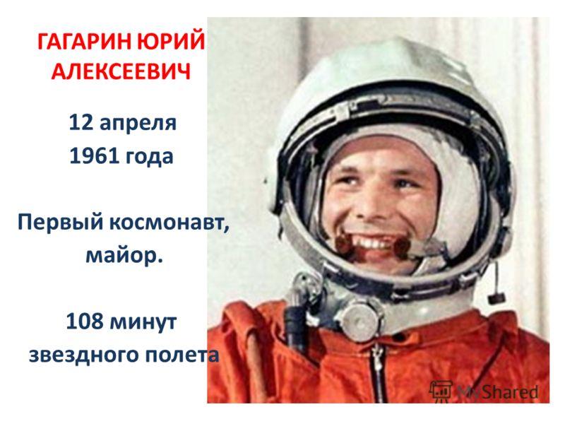 ГАГАРИН ЮРИЙ АЛЕКСЕЕВИЧ 12 апреля 1961 года Первый космонавт, майор. 108 минут звездного полета