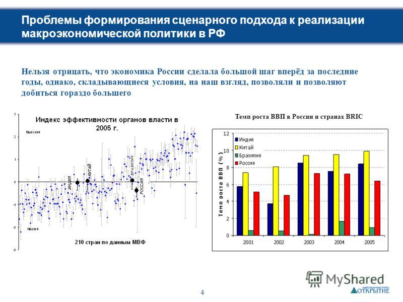 4 Проблемы формирования сценарного подхода к реализации макроэкономической политики в РФ Нельзя отрицать, что экономика России сделала большой шаг вперёд за последние годы, однако, складывающиеся условия, на наш взгляд, позволяли и позволяют добиться