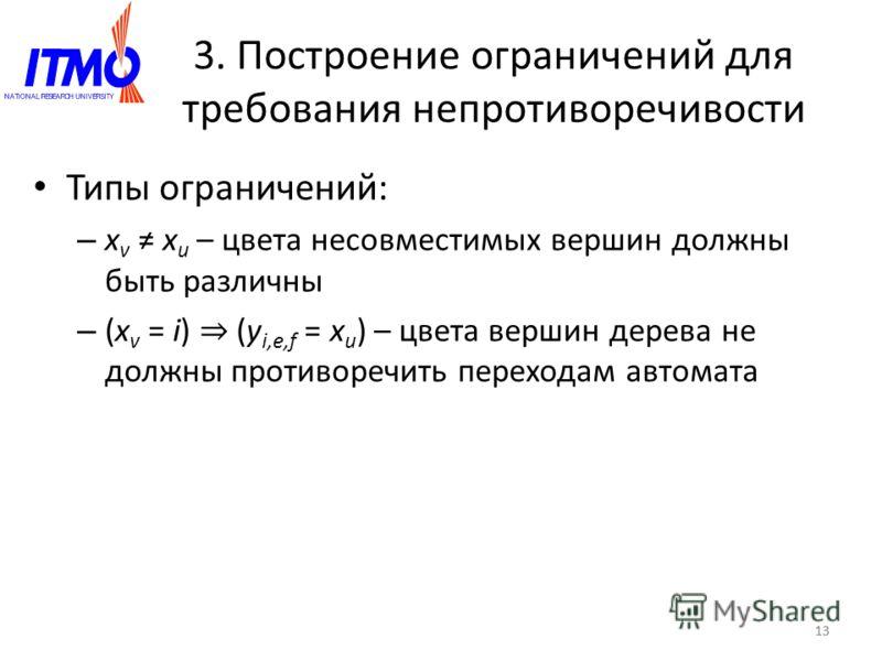 13 3. Построение ограничений для требования непротиворечивости Типы ограничений: – x v x u – цвета несовместимых вершин должны быть различны – (x v = i) (y i,e,f = x u ) – цвета вершин дерева не должны противоречить переходам автомата 13