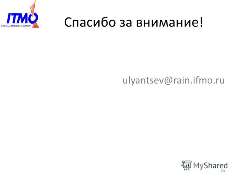 Спасибо за внимание! ulyantsev@rain.ifmo.ru 20