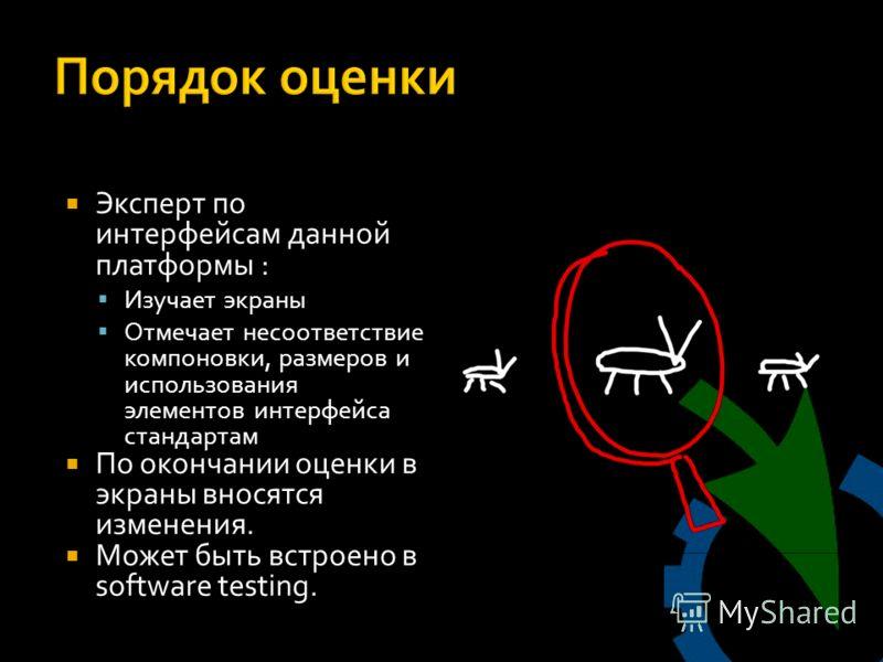 Эксперт по интерфейсам данной платформы : Изучает экраны Отмечает несоответствие компоновки, размеров и использования элементов интерфейса стандартам По окончании оценки в экраны вносятся изменения. Может быть встроено в software testing.