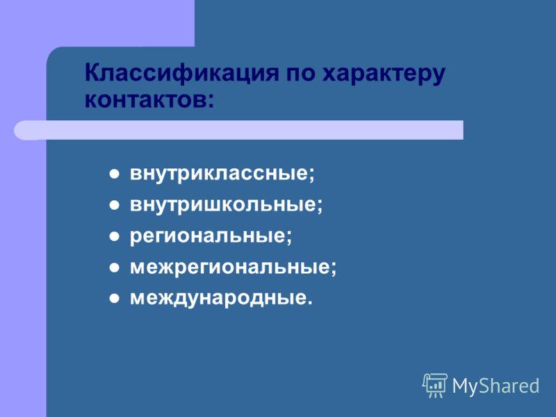 Классификация по характеру контактов: внутриклассные; внутришкольные; региональные; межрегиональные; международные.