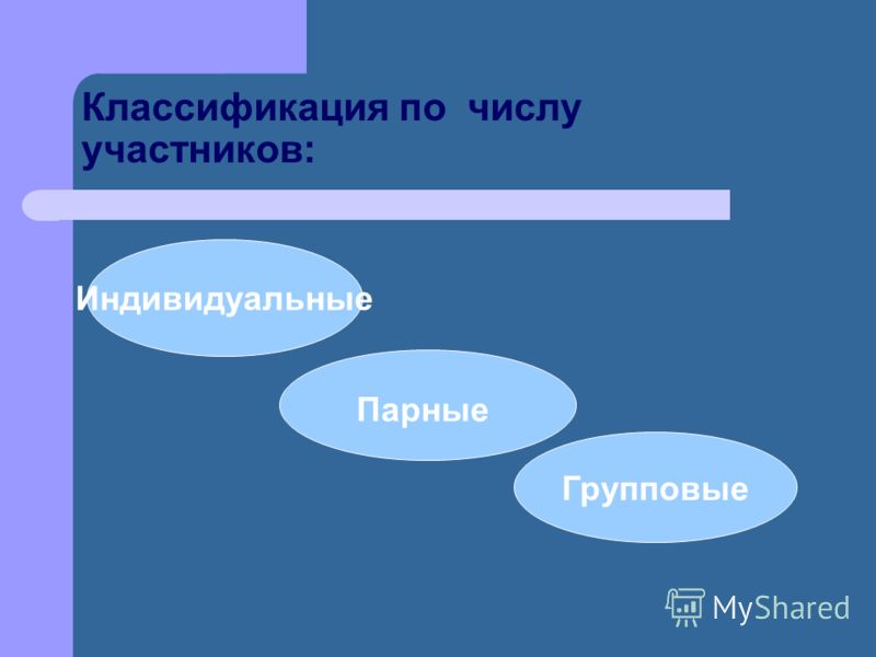 Классификация по числу участников: Индивидуальные Парные Групповые