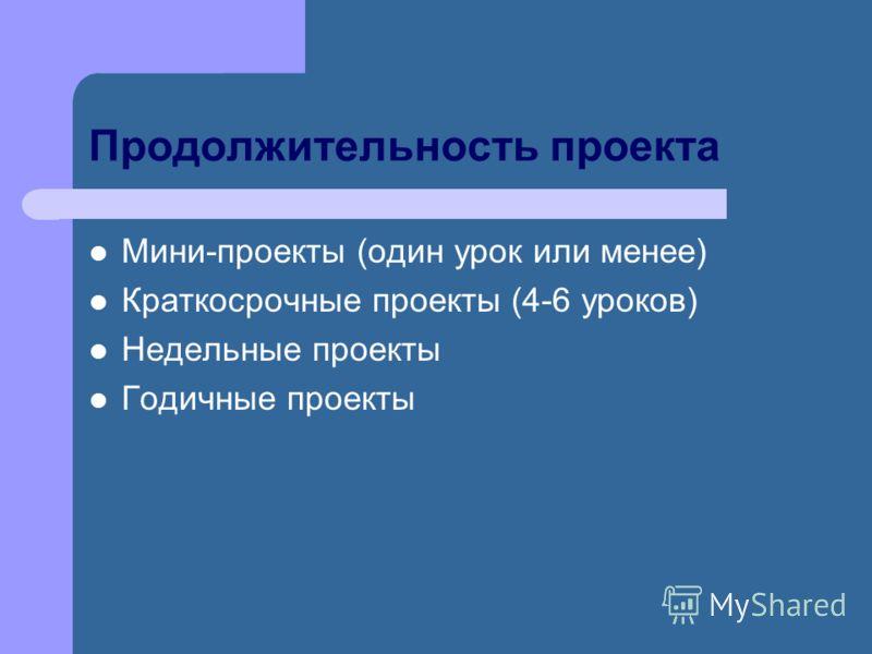Продолжительность проекта Мини-проекты (один урок или менее) Краткосрочные проекты (4-6 уроков) Недельные проекты Годичные проекты
