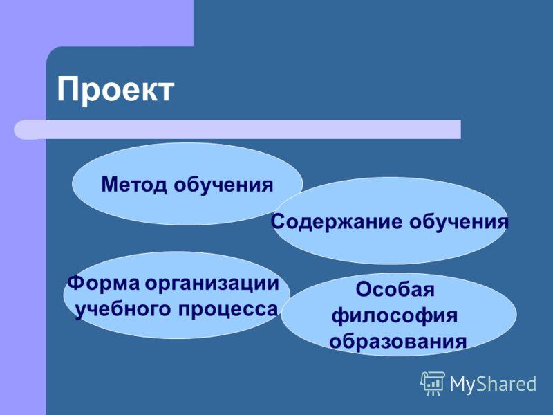 Проект Метод обучения Содержание обучения Форма организации учебного процесса Особая философия образования