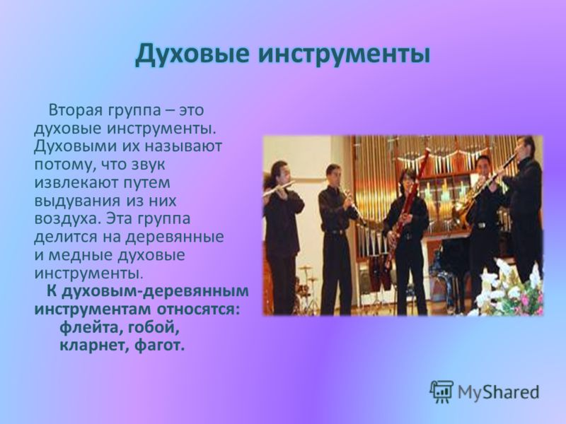Вторая группа – это духовые инструменты. Духовыми их называют потому, что звук извлекают путем выдувания из них воздуха. Эта группа делится на деревянные и медные духовые инструменты. К духовым-деревянным инструментам относятся: флейта, гобой, кларне
