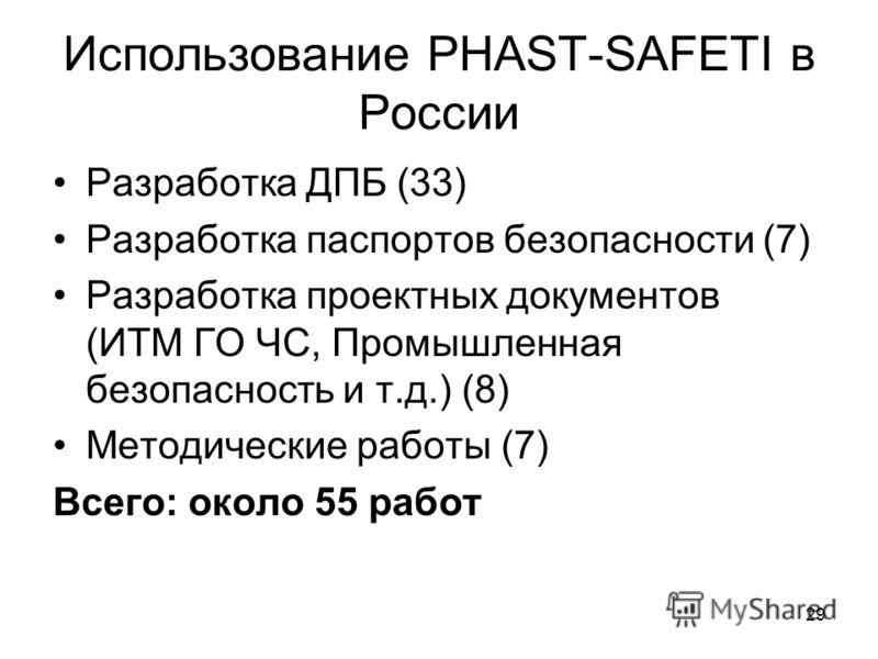 29 Использование PHAST-SAFETI в России Разработка ДПБ (33) Разработка паспортов безопасности (7) Разработка проектных документов (ИТМ ГО ЧС, Промышленная безопасность и т.д.) (8) Методические работы (7) Всего: около 55 работ