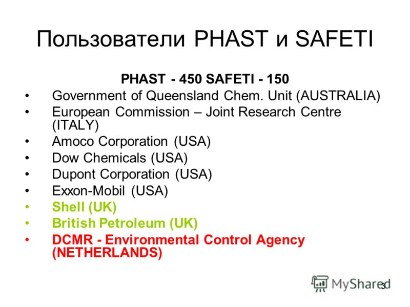 3 Пользователи PHAST и SAFETI PHAST - 450 SAFETI - 150 Government of Queensland Chem. Unit (AUSTRALIA) European Commission – Joint Research Centre (ITALY) Amoco Corporation (USA) Dow Chemicals (USA) Dupont Corporation (USA) Exxon-Mobil (USA) Shell (U