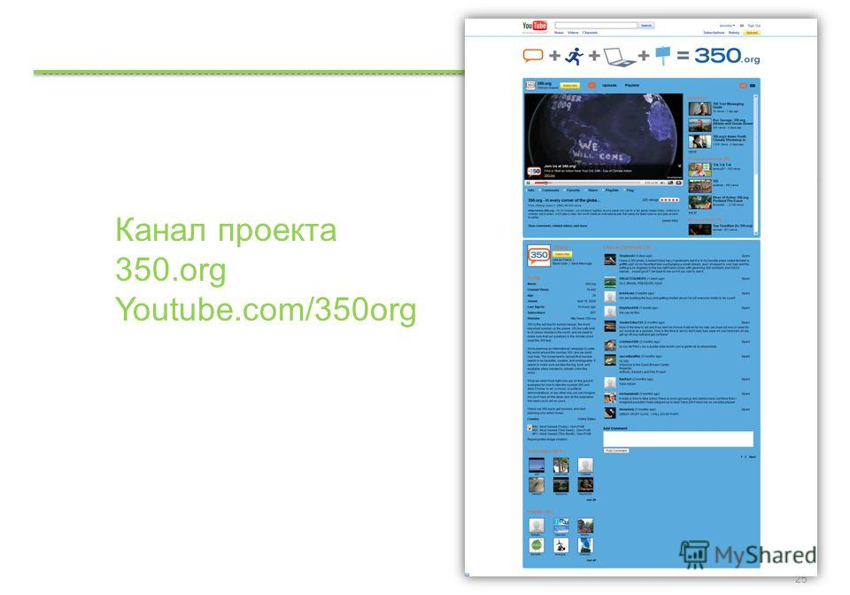 Google Confidential and Proprietary 25 Канал проекта 350. org Youtube.com/350org