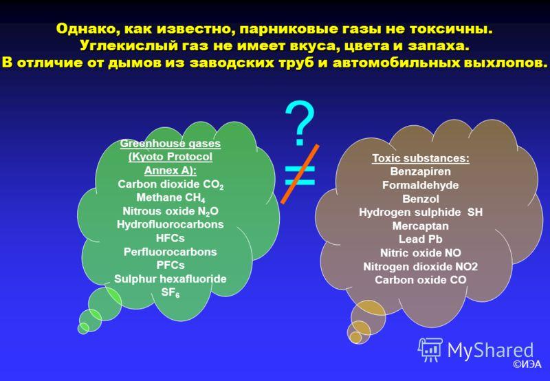 ©ИЭА Однако, как известно, парниковые газы не токсичны. Углекислый газ не имеет вкуса, цвета и запаха. В отличие от дымов из заводских труб и автомобильных выхлопов. Greenhouse gases (Kyoto Protocol Annex A): Carbon dioxide CO 2 Methane CH 4 Nitrous
