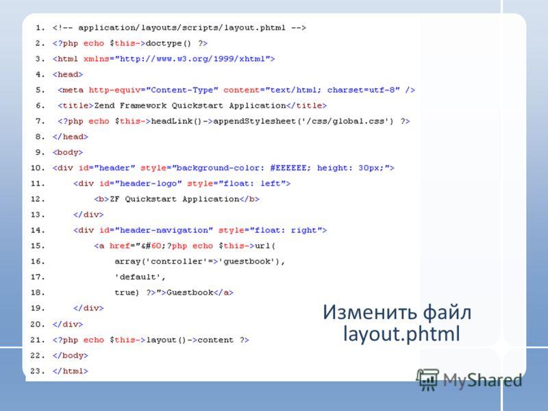Изменить файл layout.phtml