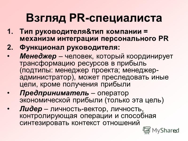 10 Взгляд PR-специалиста 1.Тип руководителя&тип компании = механизм интеграции персонального PR 2.Функционал руководителя: Менеджер – человек, который координирует трансформацию ресурсов в прибыль (подтипы: менеджер проекта; менеджер- администратор),