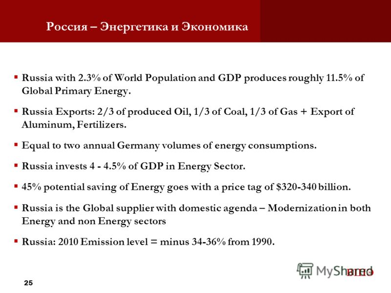 ВШЭ Россия – Энергетика и Экономика Russia with 2.3% of World Population and GDP produces roughly 11.5% of Global Primary Energy. Russia Exports: 2/3 of produced Oil, 1/3 of Coal, 1/3 of Gas + Export of Aluminum, Fertilizers. Equal to two annual Germ