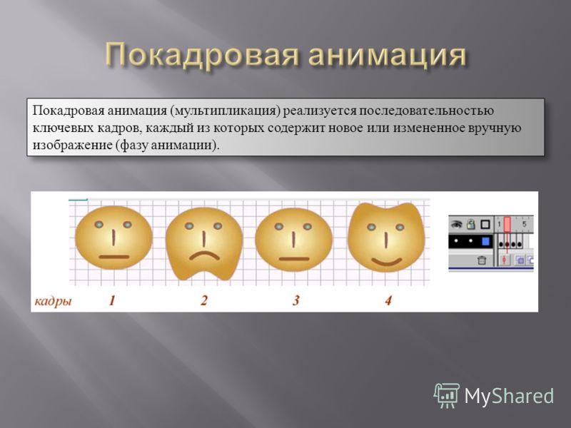 Покадровая анимация (мультипликация) реализуется последовательностью ключевых кадров, каждый из которых содержит новое или измененное вручную изображение (фазу анимации). Покадровая анимация (мультипликация) реализуется последовательностью ключевых к